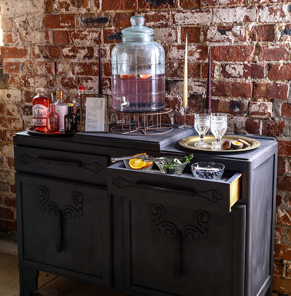 Vintage Dark Wood Dresser Bar