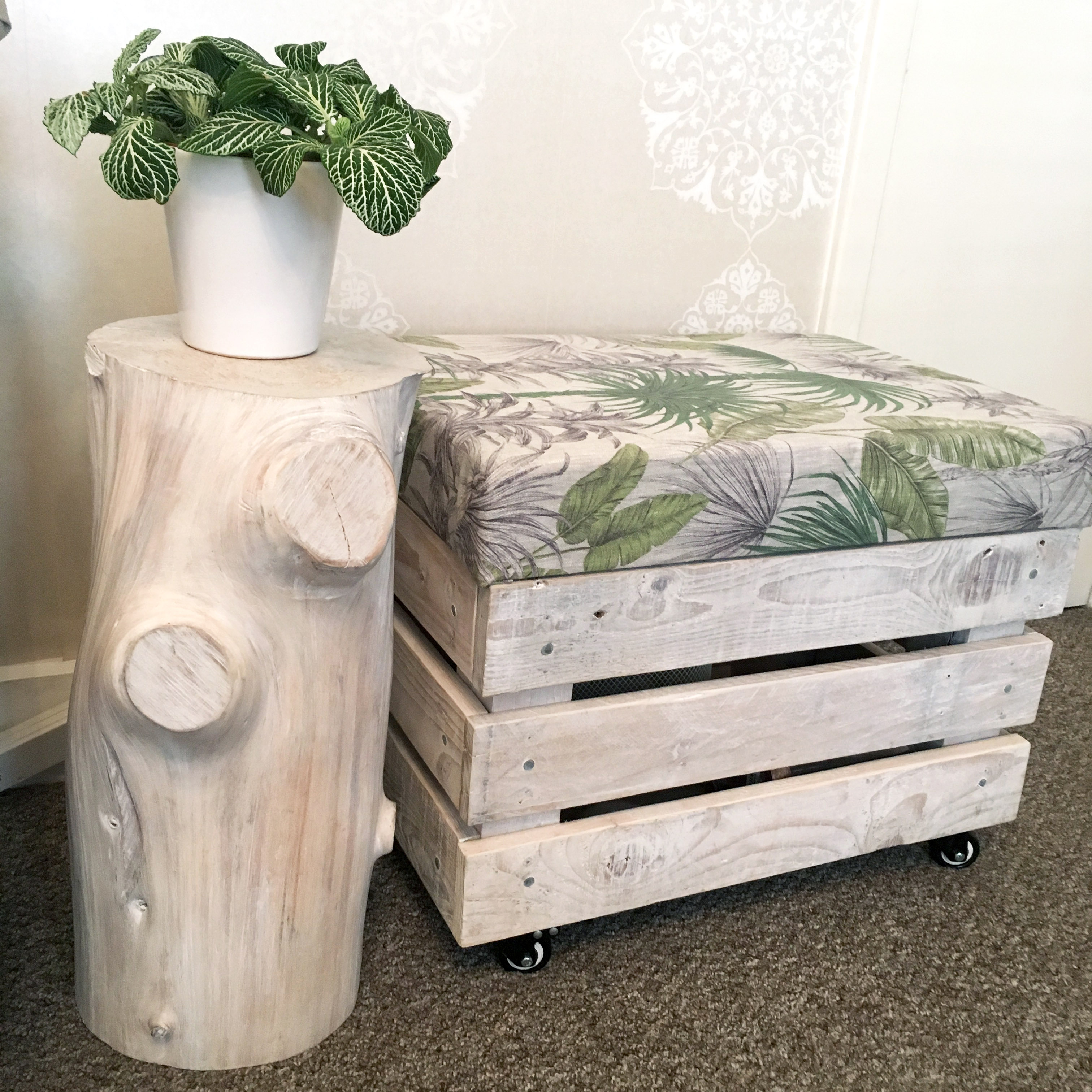 Reclaimed crate seat storage