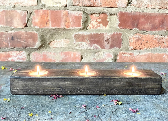Small Reclaimed Dark Wooden Tealight Holder