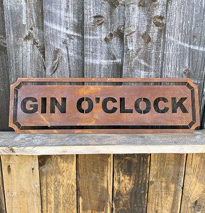 Rusted Metal Gin O'Clock Sign For Garden, Wall & Shelf Decor