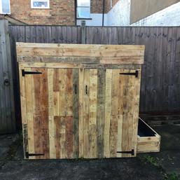Rustic Reclaimed Wooden Wheelie Bin Storage Box