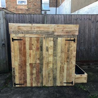 Rustic Reclaimed Wooden Wheelie Bin Storage Box