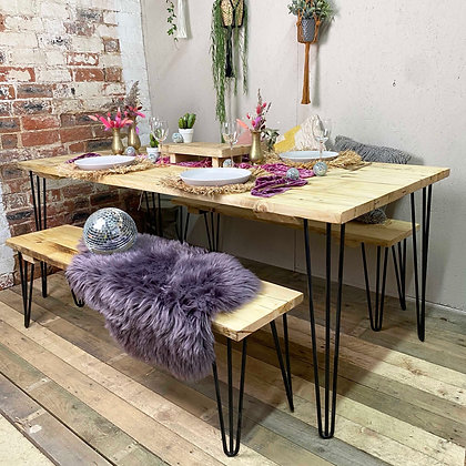 Reclaimed Rustic Dining Table and Benches on Hair Pin Legs