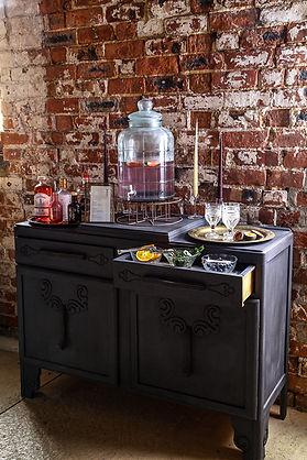 Gin Drinks Dresser Bar | Boho Furniture Hire | Event Furniture Hire | Wedding Prop Hire | Photo https://www.gourmandpixels.com