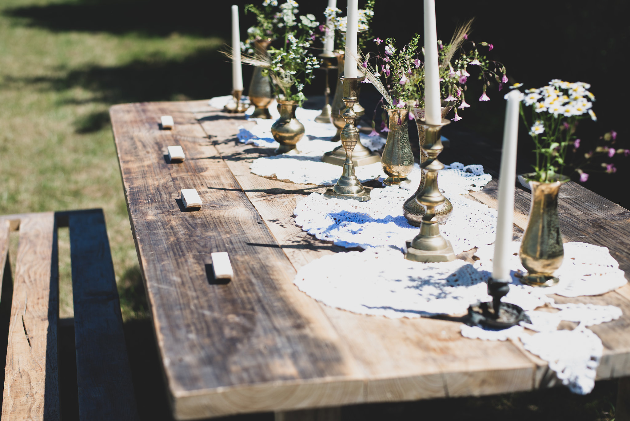 Reclaimed hire tables for weddings