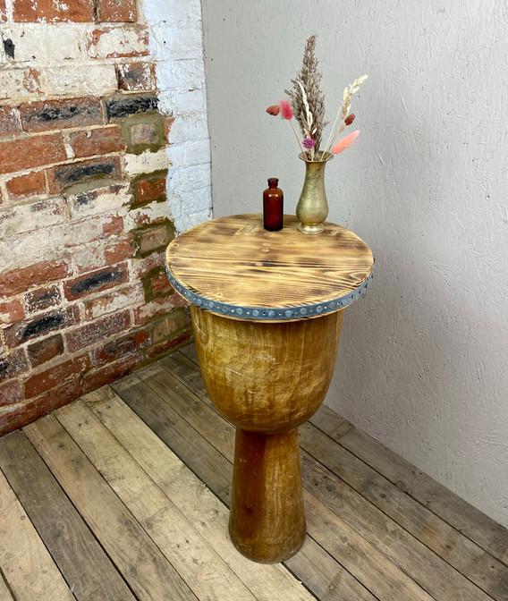 Rustic Drum Side Table