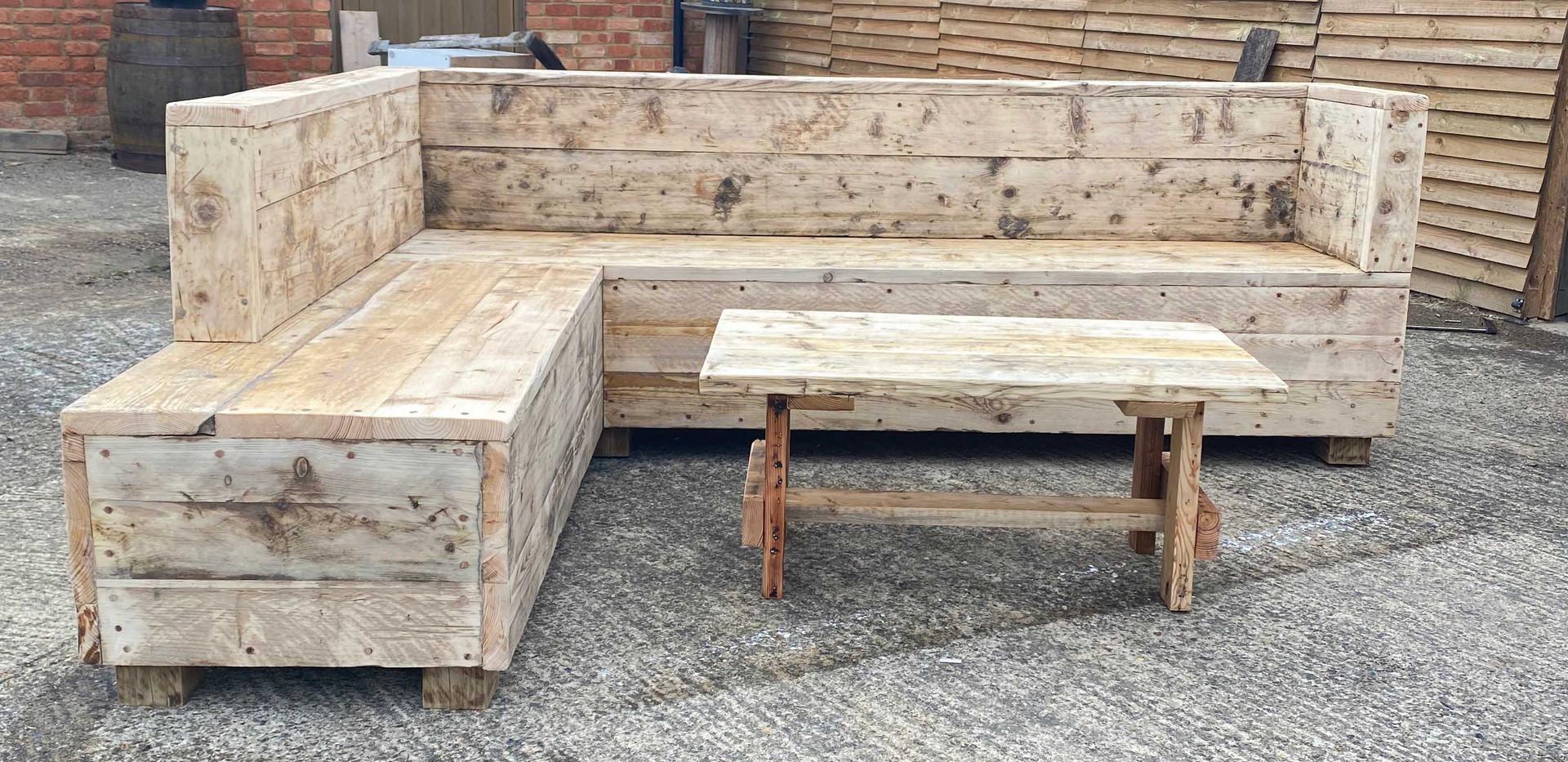 Handmade Reclaimed pine outdoor garden corner sofa.