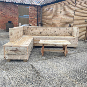 Reclaimed Rustic Wooden Benches Outdoor Barbecue Seating Area