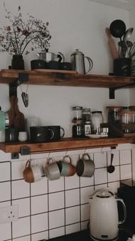 Handmade reclaimed industrial kitchen shelving