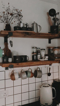 Handmade reclaimed industrial kitchen shelving
