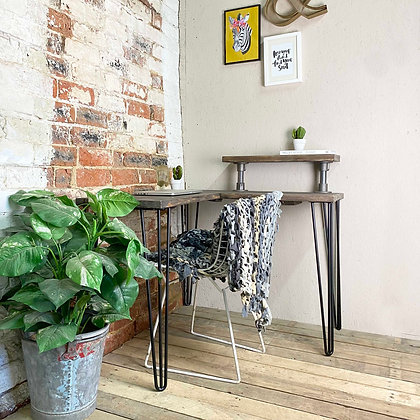 Reclaimed Industrial Corner Desk With Hair Pin Legs and Industrial Pipe Upstand