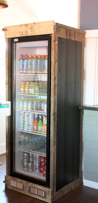Rustic Reclaimed Cafe Drinks Display Fridge Cover/Surround