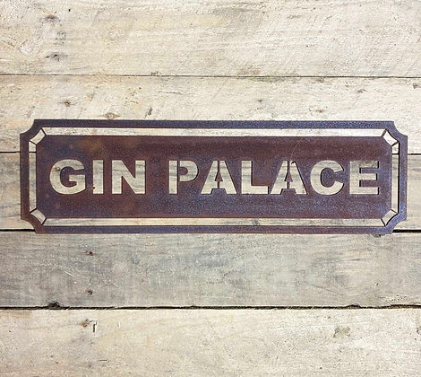 Rusted Metal Gin Palace Sign For Garden, Wall & Shelf Decor
