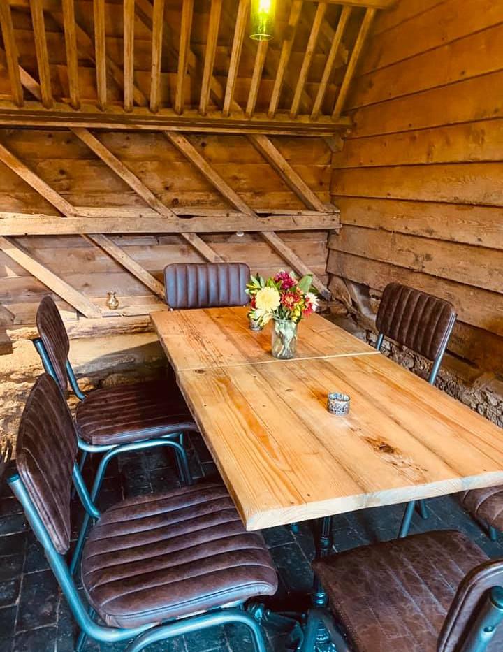 Handmade, reclaimed wine shop tables