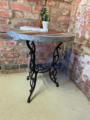 Reclaimed traditional metal base industrial side table