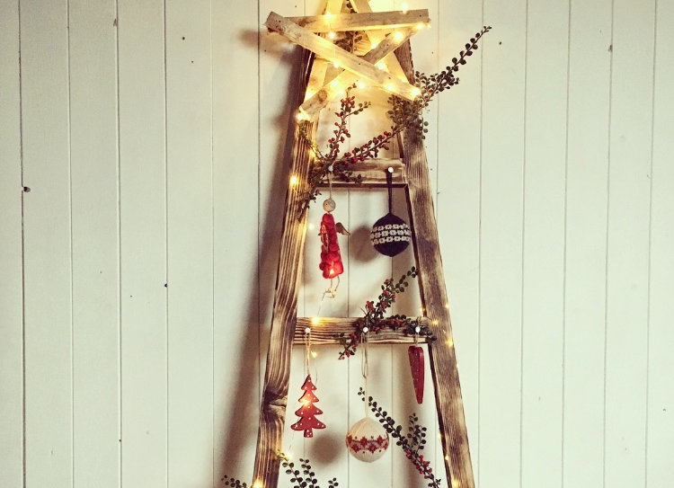 Skinny Christmas Tree.Reclaimed Skinny Christmas Tree