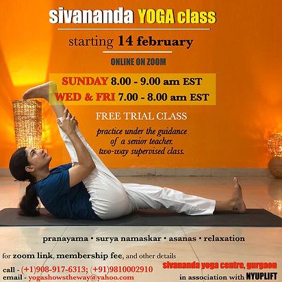 sivananda daily open class NYUPLIFT Febr