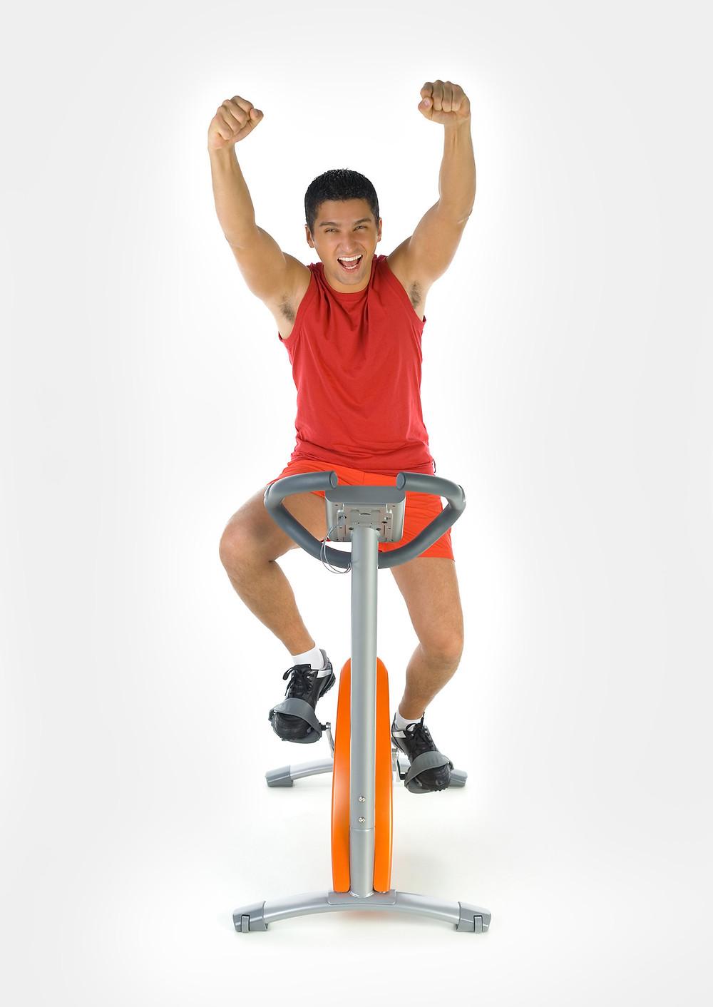 Enthusiastic man on a bike