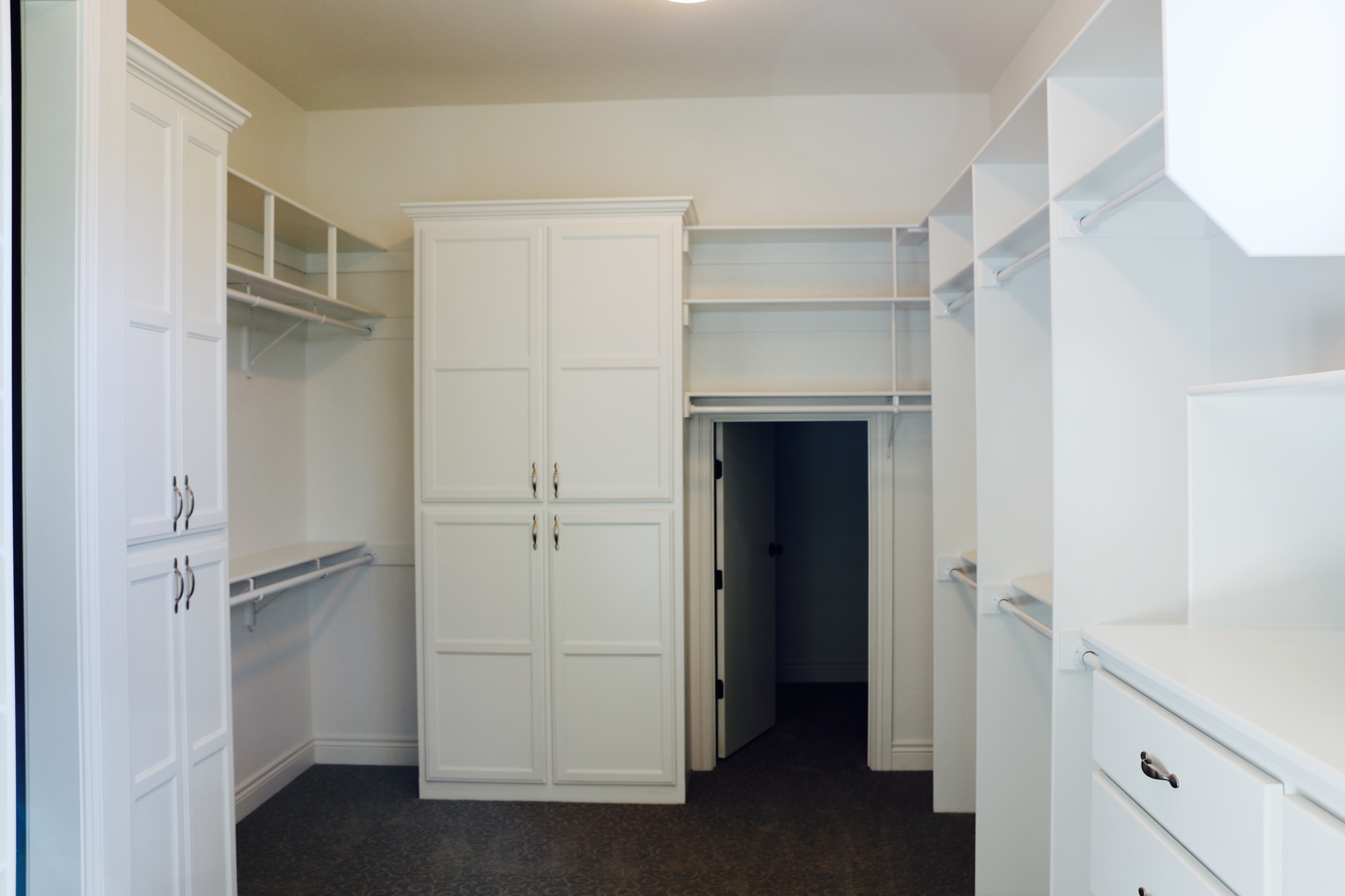 Built-in cabinets in master closet