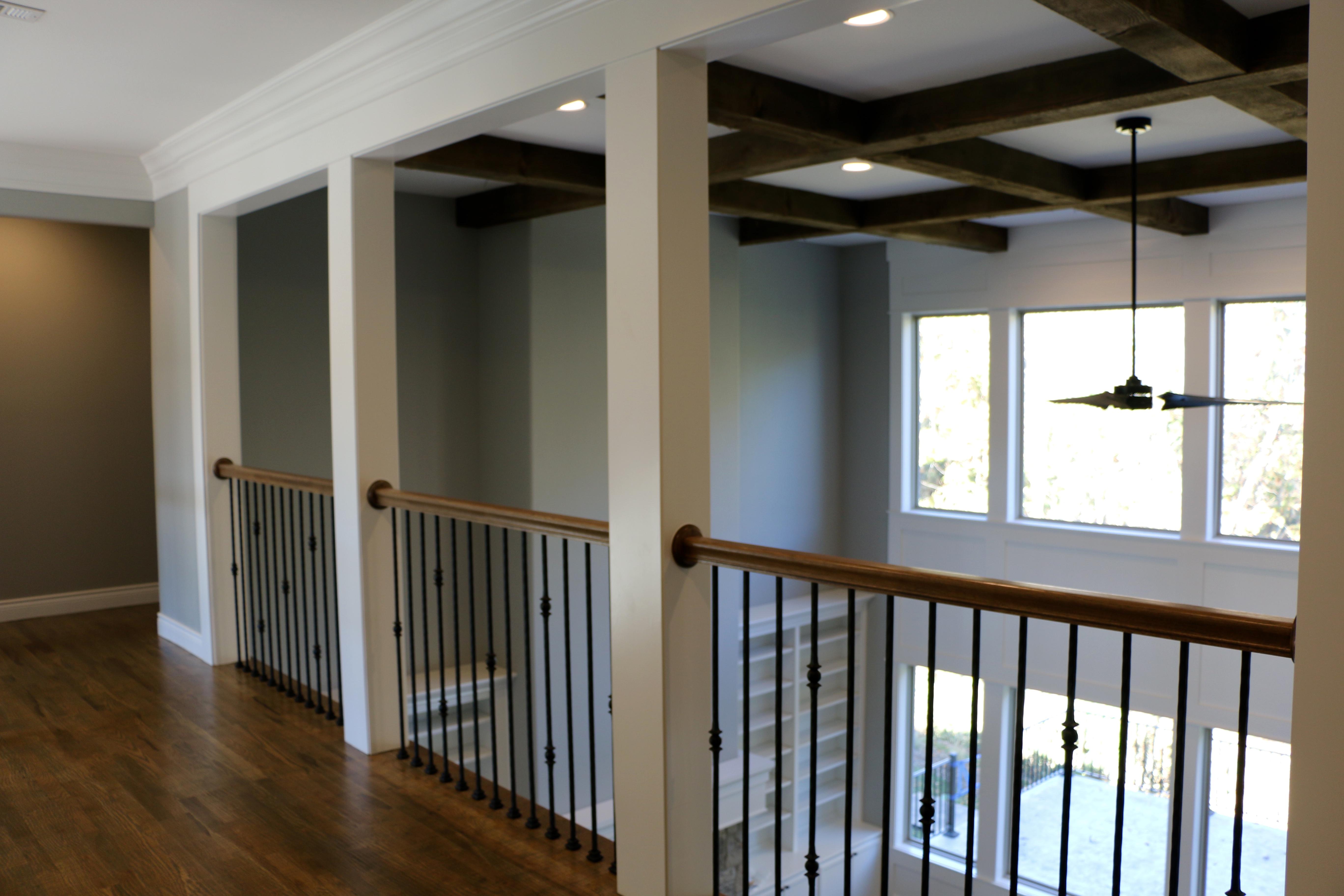 Rustic cedar beam coffer ceiling