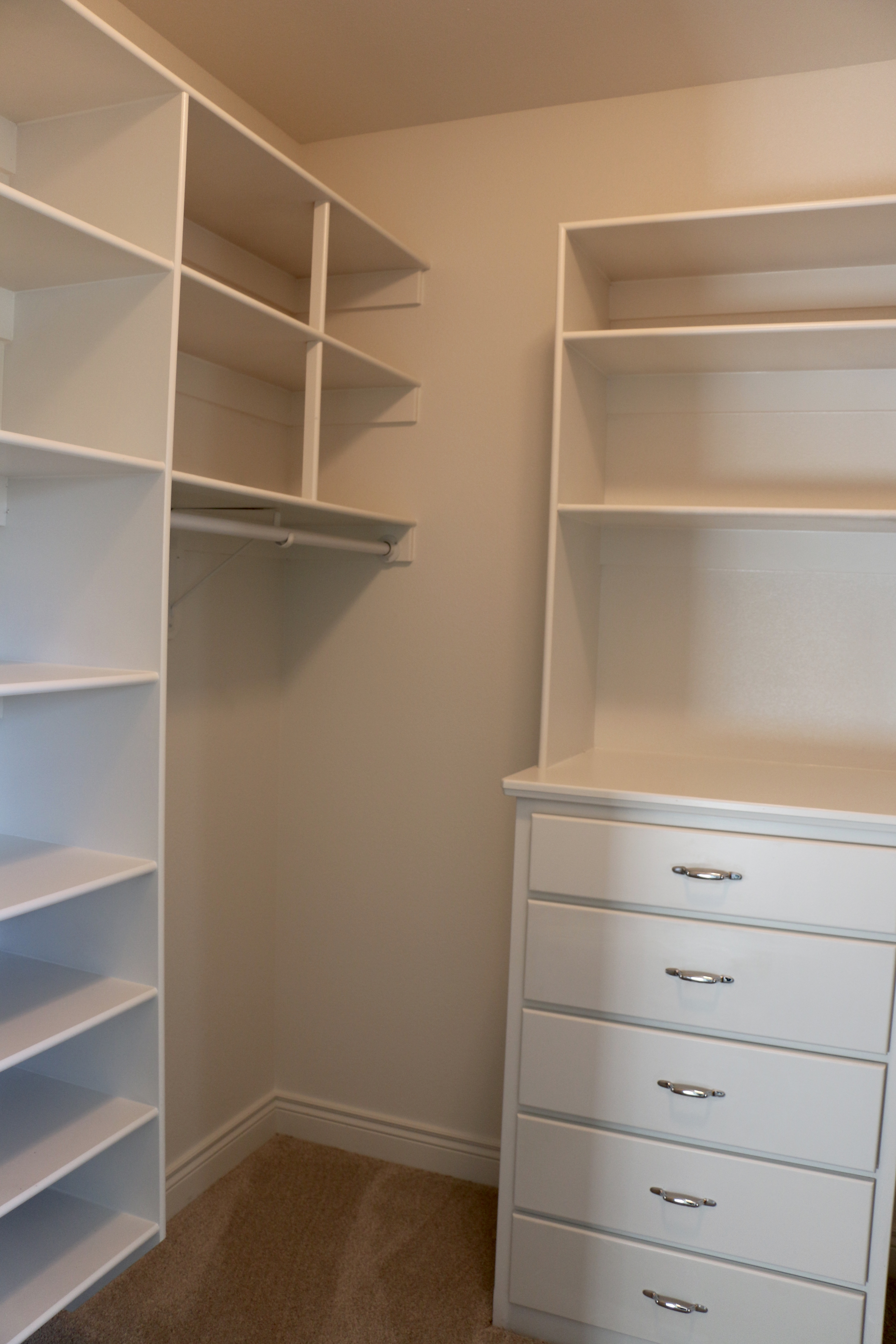 Built-in chest in each closet
