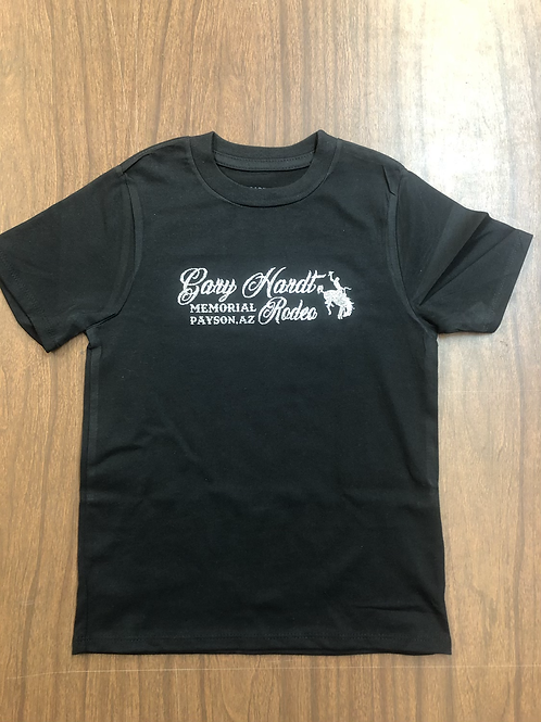 Gary Hardt youth black shirt with sliver glitter print