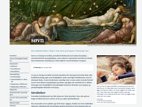New article on sleep in Store medisinske leksikon :)
