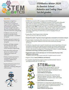 STEMbotics Afterschool 1-3rd grade Flyer