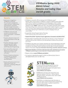 STEMbotics Afterschool Flyer Spring 2020