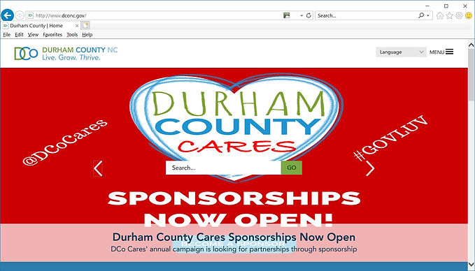 Coverage on Homepage of Durham County Gov