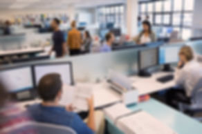 People Working in Office with LED Lighting