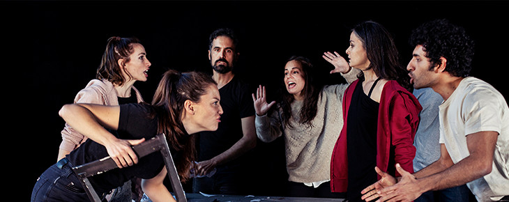 Carmen Valverde con el reparto de 'Impulsos BPM' en el María Guerrero