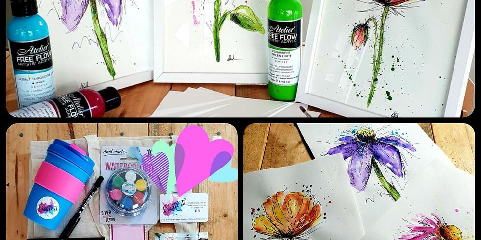 BRISBANE Paint and Pen Flowers