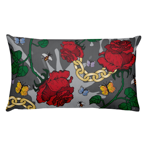 Red Rose & Chains Throw Pillow