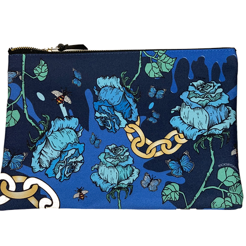 Blue Rose & Chain Large Pouch