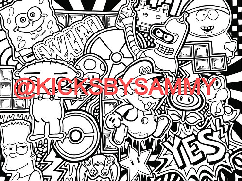 Cartoon & Games Coloring Sheet
