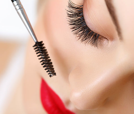 Woman eye with beautiful makeup and long eyelashes.jpg Mascara Brush.jpg High quality image.jpg