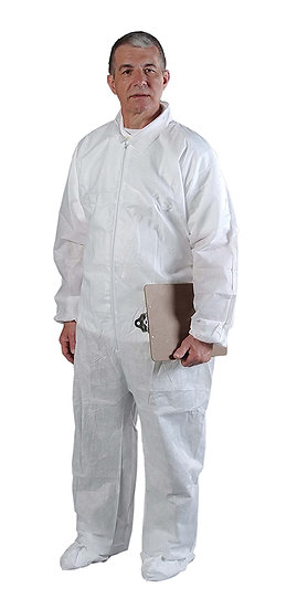 Alphaguard White Coveralls with Elastic Wrists/Ankles/Back - LARGE (25 pieces)