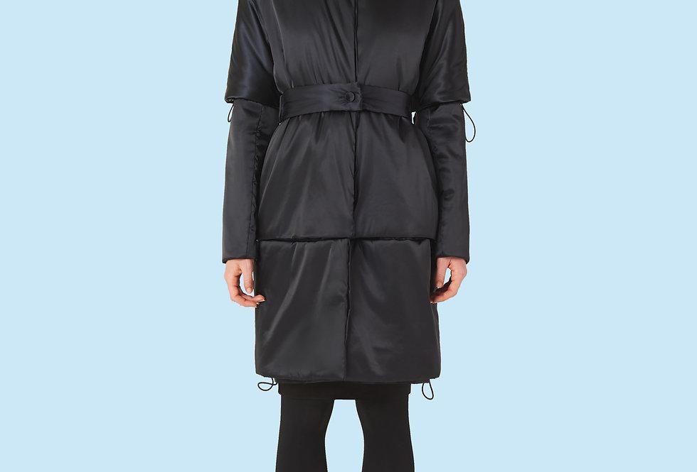 Mid Length Padded Coat (150 grms) in Black