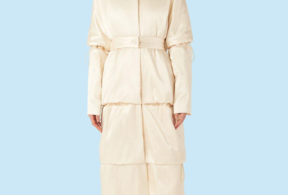 Full Length Padded Coat (150 grms) in Ivory