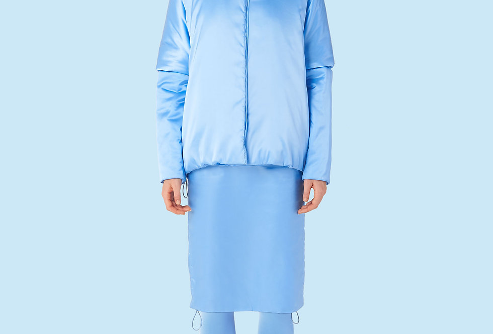 Short Padded Coat (150 grms) in Light Blue