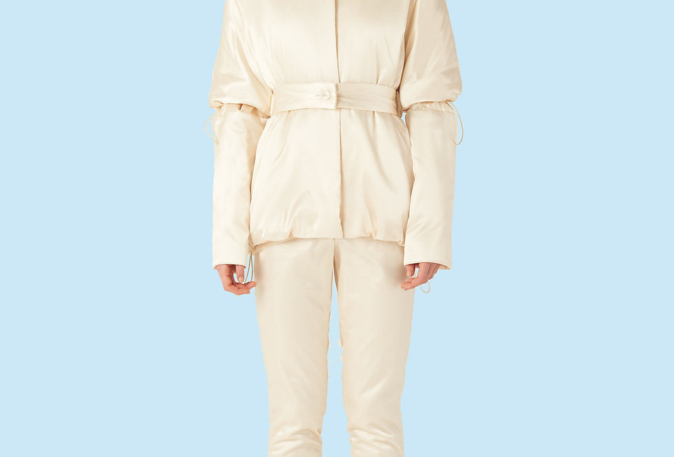 Short Padded Coat (150 grms) in Ivory