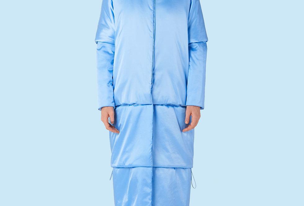 Full Length Padded Coat (150 grms) in Light Blue