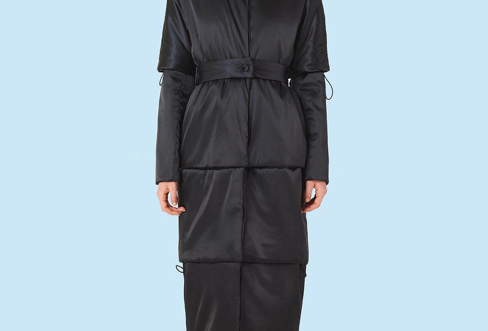 Full Length Padded Coat (150 grms) in Black