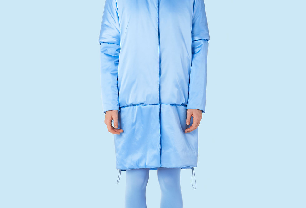 Mid Length Padded Coat (150 grms) in Light Blue