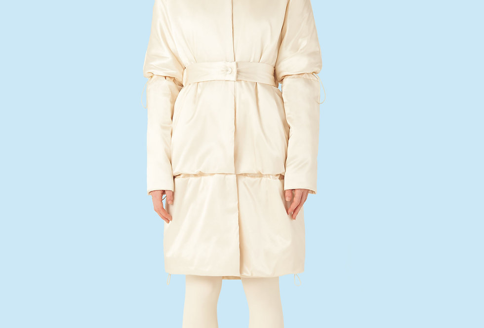 Mid Length Padded Coat (150 grms) in Ivory