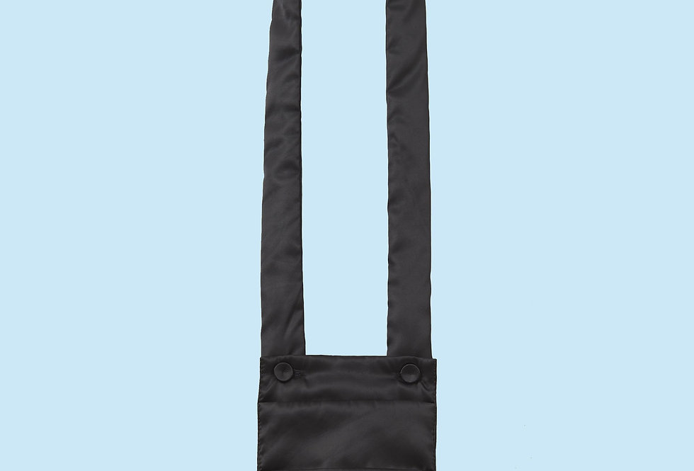 Padded Necklace Bag / Chest Pocket in Black