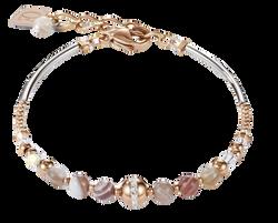 Bracelet Ball Botswana agate & stainless