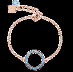 Bracelet Ring Crystals pavé & stainless steel rose gold & aqua