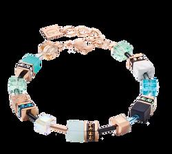 Bracelet GeoCUBE® Swarovski® Crystals & Gemstones aqua-beige